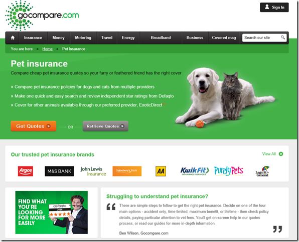 Go Compare pet insurance